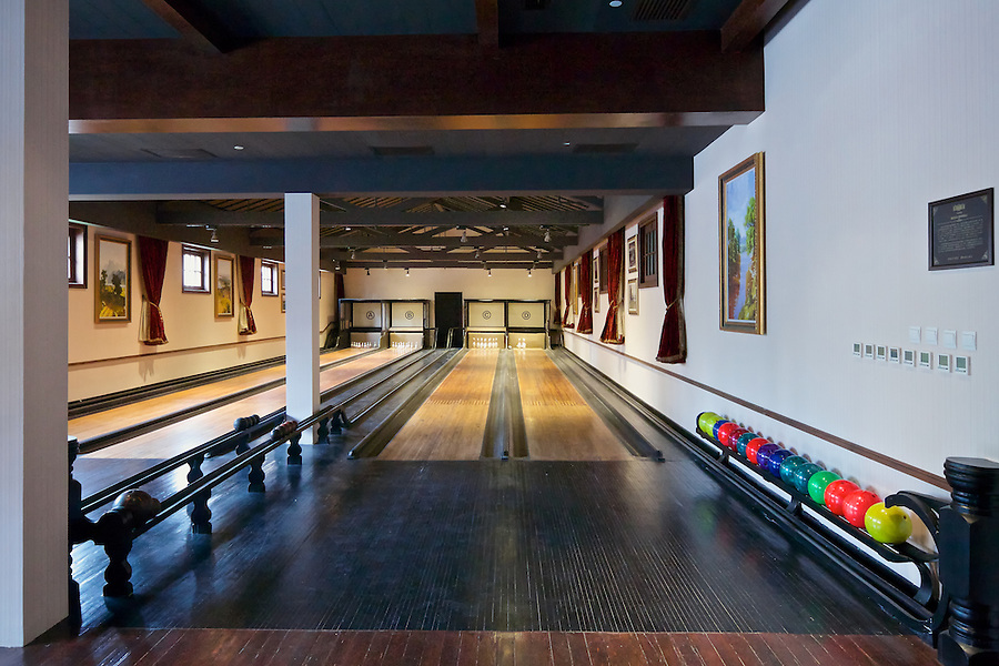 The Ten-Pin Bowling Alley Ready For Action After A Long Hiatus.  The Pins Are Placed By Hand.
