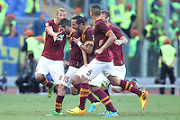 ROME, Italy - September 1, 2013: Roma beats Verona 3-0 during the Serie A match in Olimpico Stadium. In the photo the celebration for the the goal of 2-0 scored by Miralem Pjanic