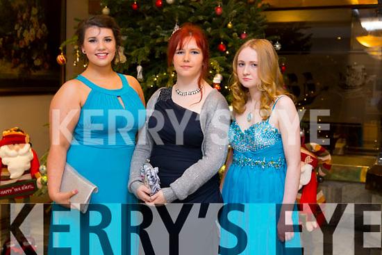 Ciara O'Mahony, Ashling O'Connor, Sarah Brooks enjoying the Castlegregory Secondary School Debs at the Brandon Hotel on Saturday