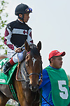 19 June 2010:  . Shared Account and Edgar Prado in the paddock before the All Along Stakes (III) at Colonial Downs in New Kent, Va. Shared Account is owned by Sagamore Farm, trained by H. Graham Motion