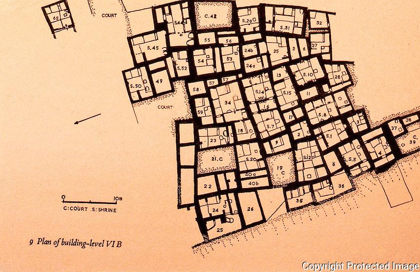 World Civilization:    Catal Huyuk--Plan of Level VI B. Circa 5986-5908 B.C.  James mellaart, CATAL HUYUK:  A NEOLITHIC TOWN IN ANATOLIA.  McGraw-Hill 1967.