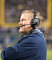 Notre Dame head coach Brian Kelly. The Pittsburgh Panthers defeated the Notre Dame Fighting Irish 28-21 at Heinz Field, Pittsburgh, Pennsylvania on November 9, 2013.