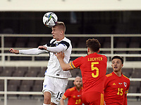 1st September 2021: Helsinki, Finland;   Finlands Marcus Forss and Thomas Alun Lockyer of Wales challenge for the ball during the International Friendly,  Finland versus Wales at the Helsinki Olympic Stadium