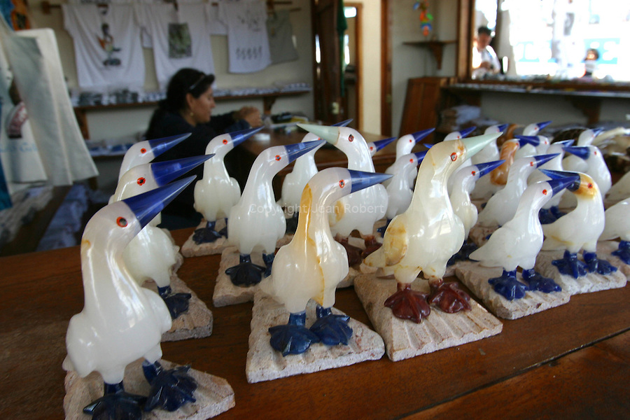 """The """"touristic folklore"""" is part  of the Galapagos. Blue foot bobbies statues  sold  in the shops of Puerto Ayora, main city of the archipelago, <br /> fous a pattes bleues vendus comme  souvenir à l aeroport de Baltra Galapagos"""
