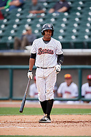 Birmingham Barons shortstop Cleuluis Rondon (7) at bat during a game against the Jacksonville Jumbo Shrimp on April 24, 2017 at Regions Field in Birmingham, Alabama.  Jacksonville defeated Birmingham 4-1.  (Mike Janes/Four Seam Images)
