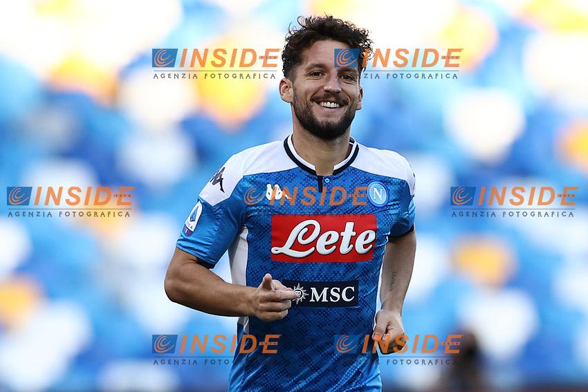 Dries Mertens of Napoli celebrates after scoring a goal<br /> during the Serie A football match between SSC  Napoli and SPAL at stadio San Paolo in Naples ( Italy ), June 28th, 2020. Play resumes behind closed doors following the outbreak of the coronavirus disease. <br /> Photo Cesare Purini / Insidefoto