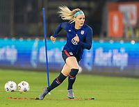 BREDA, NETHERLANDS - NOVEMBER 27: Julie Ertz #8 of the USWNT warms up before a game between Netherlands and USWNT at Rat Verlegh Stadion on November 27, 2020 in Breda, Netherlands.