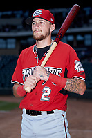 Brice Turang (2) of the Carolina Mudcats poses for a photo prior to the game against the Winston-Salem Dash at BB&T Ballpark on August 4, 2019 in Winston-Salem, North Carolina. The Dash defeated the Mudcats 7-5. (Brian Westerholt/Four Seam Images)