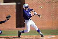 Brady Williamson (3) of the High Point Panthers makes contact with the baseball during the game against the UNCG Spartans at Willard Stadium on February 14, 2015 in High Point, North Carolina.  The Panthers defeated the Spartans 12-2.  (Brian Westerholt/Four Seam Images)