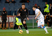 Calcio, Tim Cup: Roma vs Empoli. Ottavi di finale a gara unica. Roma, stadio Olimpico, 20 gennaio 2015.<br /> Roma's Juan Iturbe is challenged by Empoli's Mario Rui, right, during the Italian Cup round of 16 football match between Roma and Empoli at Rome's Olympic stadium, 20 January 2015.<br /> UPDATE IMAGES PRESS/Riccardo De Luca