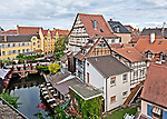 A bird's-eye view of the area known as La Petite Venise, in Colmar, from a window in the Hotel Le Maréchal.