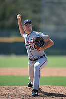 Detroit Tigers pitcher Ethan DeCaster (56) delivers a pitch during a Florida Instructional League game against the Pittsburgh Pirates on October 2, 2018 at the Pirate City in Bradenton, Florida.  (Mike Janes/Four Seam Images)