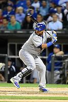 Toronto Blue Jays third baseman Juan Francisco (47) at bat during a game against the Chicago White Sox on August 15, 2014 at U.S. Cellular Field in Chicago, Illinois.  Chicago defeated Toronto 11-5.  (Mike Janes/Four Seam Images)