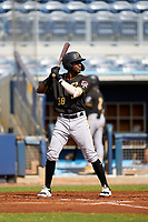FCL Pirates Black Juan Jerez (38) bats during a game against the FCL Rays on August 3, 2021 at Charlotte Sports Park in Port Charlotte, Florida.  (Mike Janes/Four Seam Images)