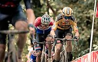 Wout van Aert (BEL/Jumbo - Visma) & Mathieu Van der Poel (NED/Alpecin-Fenix) up the Kemmelberg cobbles <br /> <br /> 82nd Gent-Wevelgem in Flanders Fields 2020 (1.UWT)<br /> 1 day race from Ieper to Wevelgem (232km)<br /> <br /> ©kramon