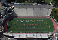 aerial photograph of the Percival Molson Memorial Stadium, McGill University, Montreal, Quebec, Canada | photographie aérienne du stade Percival Molson Memorial, Université McGill, Montréal, Québec, Canada