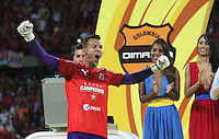 MEDELLÍN -COLOMBIA-19-JUNIO-2016. David Gonzalez .Jugadores  del Deportivo Independiente Medellín  celebran al ganar el campeonato nacional de fútbol Liga Aguila 2016 I al vencer al Atlético Junior   durante partido por la final vuelta de la Liga Águila I 2016 jugado en el estadio Atanasio Girardot ./ David Gonzalez .Players of Medellin  celebrate winning the  final soccer  national league  the 2016 I Liga Aguila   match between Independiente Medellin and Atletico Junior during the match for final the Aguila League I 2016 played at Atanasio Girardot  stadium in Medellin . Photo: VizzorImage / Felipe Caicedo  / Staff
