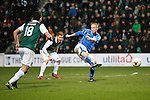Hibs v St Johnstone...30.01.16   Utilita Scottish League Cup Semi-Final, Tynecastle..<br /> Steven Anderson's shot is blocked<br /> Picture by Graeme Hart.<br /> Copyright Perthshire Picture Agency<br /> Tel: 01738 623350  Mobile: 07990 594431