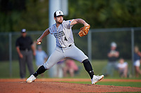 Northeastern Huskies starting pitcher Brian Rodriguez (4) during a game against the South Dakota State Jackrabbits on February 23, 2019 at North Charlotte Regional Park in Port Charlotte, Florida.  Northeastern defeated South Dakota State 12-9.  (Mike Janes/Four Seam Images)