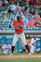 Rochester Red Wings right fielder Edgar Corcino (5) at bat during a game against the Indianapolis Indians on July 24, 2018 at Victory Field in Indianapolis, Indiana.  Rochester defeated Indianapolis 2-0.  (Mike Janes/Four Seam Images)