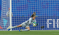 GRENOBLE, FRANCE - JUNE 18: Lydia Williams #1 of the Australian National Team makes a save during a game between Jamaica and Australia at Stade des Alpes on June 18, 2019 in Grenoble, France.