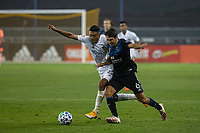 SAN JOSE, CA - SEPTEMBER 13: Shea Salinas #6 of the San Jose Earthquakes and Julian Araujo  #2 of the L.A. Galaxy battle for the ball during a game between Los Angeles Galaxy and San Jose Earthquakes at Earthquakes Stadium on September 13, 2020 in San Jose, California.