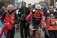 Last years winner Jasper stuyven (BEL/Trek-Segafredo) is escorted towards the podium after finishing 2nd in this edition<br /> <br /> 69th Kuurne-Brussel-Kuurne 2017 (1.HC)