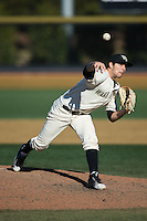 Wake Forest Demon Deacons relief pitcher John McCarren (45) in action against the Richmond Spiders at David F. Couch Ballpark on March 6, 2016 in Winston-Salem, North Carolina.  The Demon Deacons defeated the Spiders 17-4.  (Brian Westerholt/Four Seam Images)