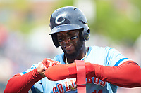 Yandy Diaz (11) of the Columbus Clippers during the game against the Indianapolis Indians at Huntington Park on June 17, 2018 in Columbus, Ohio. The Indians defeated the Clippers 6-3.  (Brian Westerholt/Four Seam Images)