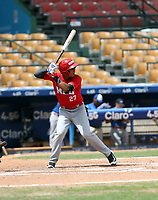 Jose De la Cruz participates in the MLB Showcase at the Estadio Quisqeye Juan Marichal on February 21-22, 2018 in Santo Domingo, Dominican Republic.