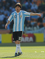 Lionel Messi directs the flow of play through his midfield. Argentina defeated South Korea, 4-1, in both teams' second match of play in Group B of the 2010 FIFA World Cup. The match was played at Soccer City in Johannesburg, South Africa June 17th.