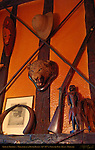 African Trophies, Wheatsheaf at Bough Beech, 14th-15th c. Country Pub, Kent, England, UK