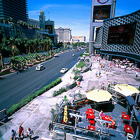 The Strip, (Las Vegas Boulevard), Las Vegas, Nevada, USA - Bellagio, Caesars Palace, and Mirage Hotel & Casino to the left