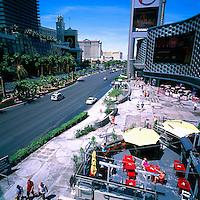 The Strip, (Las Vegas Boulevard), Las Vegas, Nevada, USA - Bellagio, Caesars Palace, and Mirage Hotel & Casino to the left