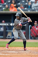 Lehigh Valley IronPigs outfielder Roman Quinn (2) at bat against the Toledo Mud Hens during the International League baseball game on April 30, 2017 at Fifth Third Field in Toledo, Ohio. Toledo defeated Lehigh Valley 6-4. (Andrew Woolley/Four Seam Images)