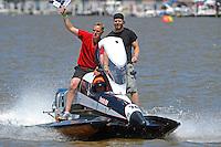 Butch Ott, (#78) son Steve Ott and Mark Weber take a victory lap. (SST-45 class)