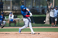 Los Angeles Dodgers outfielder Andy Pages (65) swings at a pitch during an Instructional League game against the San Diego Padres at Camelback Ranch on September 25, 2018 in Glendale, Arizona. (Zachary Lucy/Four Seam Images)