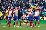 Atletico de Madrid´s Diego Godin, Juanfran and Gabi celebrate their victory at 2015/16 La Liga match between Real Madrid and Atletico de Madrid at Santiago Bernabeu stadium in Madrid, Spain. February 27, 2016. (ALTERPHOTOS/Victor Blanco)