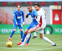 7th February 2021; Fountain of Youth Stadium Hamilton, South Lanarkshire, Scotland; Scottish Premiership Football, Hamilton Academical versus Rangers; Kemar Roofe of Rangers on the ball challenged by Aaron Martin of Hamilton Academical