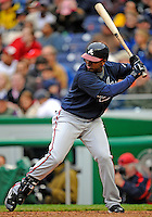 13 April 2008: Atlanta Braves' infielder Ruben Gotay in action against the Washington Nationals at Nationals Park, in Washington, DC. The Nationals ended their 9-game losing streak by defeating the Braves 5-4 in the last game of their 3-game series...Mandatory Photo Credit: Ed Wolfstein Photo