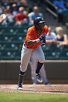 Ronnie Dawson (4) of the Buies Creek Astros hustles down the first base line against the Winston-Salem Dash at BB&T Ballpark on July 15, 2018 in Winston-Salem, North Carolina. The Dash defeated the Astros 6-4. (Brian Westerholt/Four Seam Images)