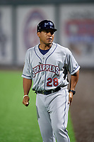 Mahoning Valley Scrappers manager Dennis Malave (28) during a NY-Penn League game against the Auburn Doubledays on August 27, 2019 at Falcon Park in Auburn, New York.  Auburn defeated Mahoning Valley 3-2 in ten innings.  (Mike Janes/Four Seam Images)