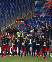 Calcio, Serie A: Lazio - Genoa, Roma, Stadio Olimpico, 5 Febbraio 2018. <br /> Genoa's players celebrate with after winning 2-1 the Italian Serie A football match between Lazio and Genoa at Rome's Stadio Olimpico, February 5, 2018.<br /> UPDATE IMAGES PRESS/Isabella Bonotto