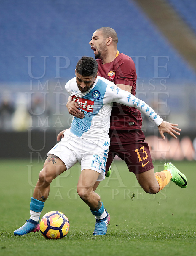 Napoli's Lorenzo Insigne, left, is challenged by Roma's Bruno Peres during the Italian Serie A football match between Roma and Napoli at Rome's Olympic stadium, 4 March 2017. <br /> UPDATE IMAGES PRESS/Isabella Bonotto
