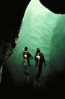 2 scuba divers in Joseph's Cave, Caribbean, vacation, recreation, sports, water, swimming. Negril, Jamaica, West Indies Joseph's Cave.