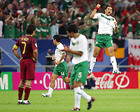 Jose Fonseca celebrates scoring for Mexico. Portugal defeated Mexico 2-1 in their FIFA World Cup Group D match at FIFA World Cup Stadium, Gelsenkirchen, Germany, June 21, 2006.