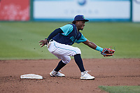 Lynchburg Hillcats shortstop Angel Martinez (13) fields a throw at second base during the game against the Myrtle Beach Pelicans at Bank of the James Stadium on May 22, 2021 in Lynchburg, Virginia. (Brian Westerholt/Four Seam Images)