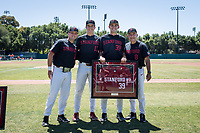 STANFORD, CA - MAY 29: Senior Jacob Palisch, David Esquer, Justin Moore, Henry Gargus before a game between Oregon State University and Stanford Baseball at Sunken Diamond on May 29, 2021 in Stanford, California.