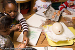 Preschool Headstart 3-5 year olds children doing guided observation and drawing comparing eggs from different mammals