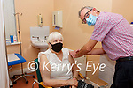 Betty Maguire from Cahersiveen receives her first shot of the Pfizer-BioNTech COVID-19 Vaccine from Dr Kieran O'Shea at the Cahersiveen Medical Centre on Saturday for the 80-84 aged group.